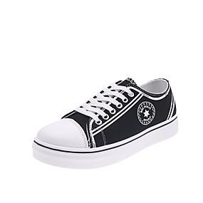 voordelige Damessneakers-Dames Sneakers Platte hak Ronde Teen Canvas Studentikoos Herfst Zwart / Wit / Bordeaux
