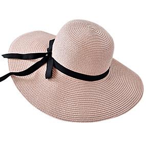 billige Tilbehør til damer-Dame søt stil Solhatt Ensfarget Polyester Rosa