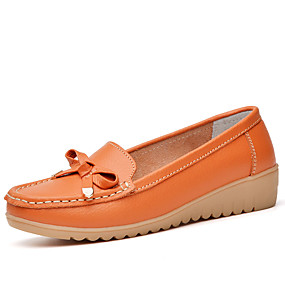 voordelige Damesschoenen met platte hak-Dames Platte schoenen Heterotypic Heel Ronde Teen PU Klassiek / minimalisme Swingschoenen Lente & Herfst Zwart / Wit / Oranje