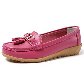 voordelige Damesschoenen met platte hak-Dames Platte schoenen Platte hak Ronde Teen Kwastje PU Zoet / minimalisme Lente zomer / Herfst winter Zwart / Wit / Fuchsia