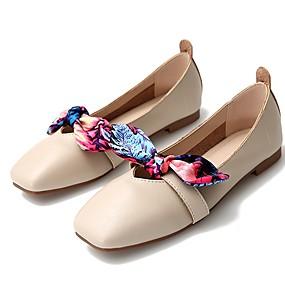 voordelige Damesschoenen met platte hak-Dames Platte schoenen Platte hak Vierkante Teen Synthetisch Zomer Zwart / Bruin / Beige