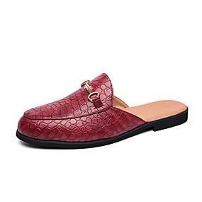 baratos Tamancos Masculinos-Homens Sapatos Confortáveis Couro Ecológico Verão Casual Tamancos e Mules Não escorregar Preto / Vermelho / Marron