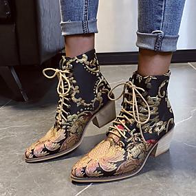 billige Mote Boots-Dame Støvler Tykk hæl Spisstå Satengblomst Sateng Støvletter Vintage / Chinoiserie Vår / Høst vinter Svart og Gull
