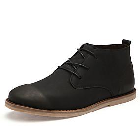 baratos Botas Masculinas-Homens Fashion Boots Couro Ecológico Outono Casual Botas Não escorregar Botas Curtas / Ankle Preto / Marron / Cinzento