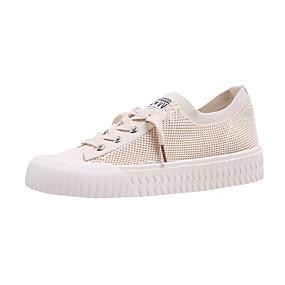 billige Sneakers til damer-Dame Treningssko Creepers Rund Tå Netting Vår & Vinter Hvit / Beige