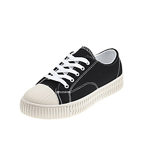 voordelige Damessneakers-Dames Sneakers Platte hak Ronde Teen Canvas Herfst winter Zwart / Lichtgeel / Wit