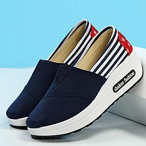 voordelige Damesinstappers & loafers-Dames Loafers & Slip-Ons Platte hak Ronde Teen Canvas Zomer Zwart / Rood / Blauw