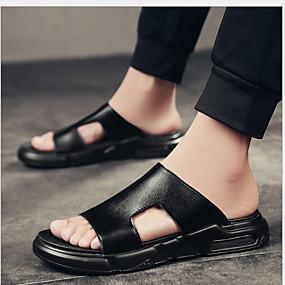 baratos Sandálias e Chinelos Masculinos-Homens Sapatos Confortáveis Couro Ecológico Verão Chinelos e flip-flops Respirável Preto