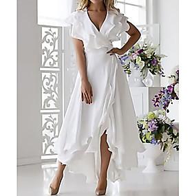 billige Wrap Dress-Dame Sexy A-linje Kjole - Ensfarget V-hals Midi