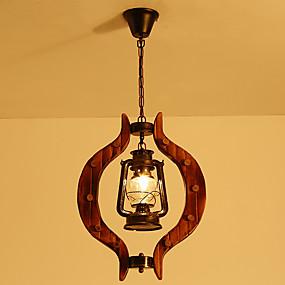 billige Hengelamper-antikke pendell lys justerbar lykta lysekrone lys omgivende lys ferdig glass skygge spisestue pendellamper