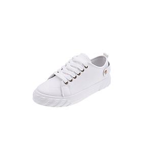voordelige Damessneakers-Dames Sneakers Platte hak Ronde Teen Canvas Informeel / Studentikoos Herfst / Lente zomer Zwart / Wit
