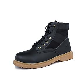 baratos Botas Masculinas-Homens Fashion Boots Lona / Couro Ecológico Primavera / Outono & inverno Esportivo / Casual Botas Corrida / Caminhada Respirável Preto / Cinzento / Khaki / Ao ar livre / Coturnos