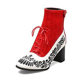 billige Mote Boots-Dame Støvler Blokker hælen Rund Tå PU Ankelstøvler Vintage / Chinoiserie Høst vinter Svart / Rød / Blå