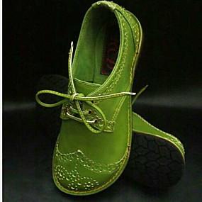 voordelige Damesschoenen met platte hak-Dames Platte schoenen Platte hak Ronde Teen PU Zomer Zwart / Groen / Lichtbruin