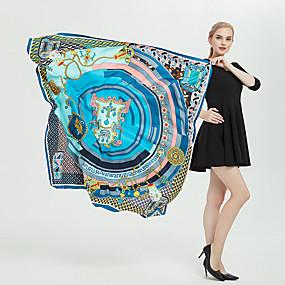 billige Tilbehør til damer-Dame Kontor / Jul Rektangulært skjerf / Firkantet skjerf / Hijab Blomstret / Trykt mønster