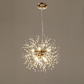 abordables Plafonniers-8 lumières Lanterne / Mini Lampe suspendue Lumière d'ambiance Plaqué Métal Cristal, Créatif 110-120V / 220-240V Blanc Crème / Blanc Neige