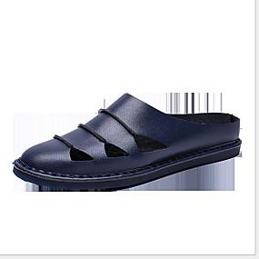 baratos Sandálias e Chinelos Masculinos-Homens Sapatos Confortáveis Couro Ecológico Verão Chinelos e flip-flops Respirável Preto / Castanho Claro / Branco
