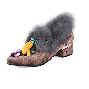 voordelige Damesinstappers & loafers-Dames Loafers & Slip-Ons Blokhak Ronde Teen Konijnenbont Zoet Herfst winter Roze / Grijs / Koffie