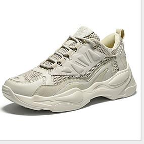 baratos Sapatos Esportivos Masculinos-Homens Sapatos Confortáveis Couro Ecológico Verão Tênis Respirável Branco e Verde / Branco / Khaki