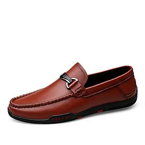 baratos Tênis Masculino-Homens Sapatos de couro Pele Napa Primavera / Outono Tênis Respirável Preto / Castanho Escuro