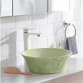 billige Frittstående vask-Baderomsvask Moderne - Jadesten Bowl Vessel Sink