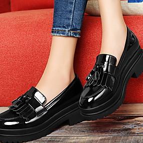 voordelige Damesinstappers & loafers-Dames Loafers & Slip-Ons Blok hiel Ronde Teen PU Lente & Herfst / Winter Zwart / Bordeaux