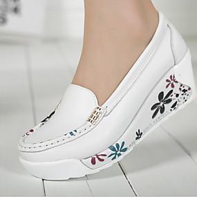 voordelige Damesschoenen met platte hak-Dames Platte schoenen Creepers Ronde Teen Leer Zomer Wit / Geel / Blauw