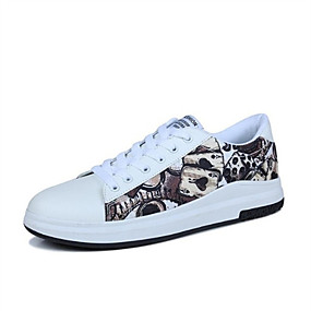 voordelige Damessneakers-Unisex Sneakers Platte hak Ronde Teen PU Lente & Herfst Lichtbruin / Rood / Grijs
