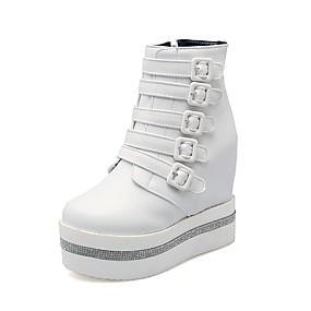 voordelige Damessneakers-Dames Sneakers Verborgen hiel Ronde Teen Strass Suède / PU Herfst winter Zwart / Wit