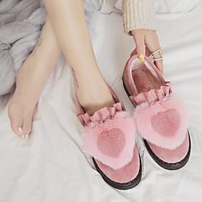 voordelige Damesinstappers & loafers-Dames Loafers & Slip-Ons Platte hak Ronde Teen Kanten stiksel Suède Vintage / minimalisme Lente & Herfst / Herfst winter Zwart / Rood / Roze