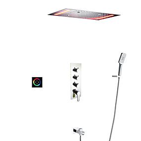 povoljno Slavine-set tuš kupaonica tuš / 50x36 cm vodio tuš glava / ručni tuš uključen / ventil za toplu i hladnu kadu / mesing / suvremeni