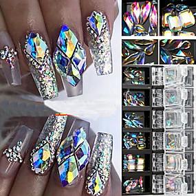 billige Neglekunst-3d ab diamantperler neglglitter rhinestone krystallglass neglekunstdekor 12 bokser