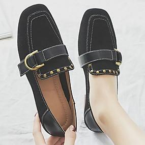 billige Flate sko til damer-Dame Flate sko Flat hæl Rund Tå Lær Vår sommer Svart / Rosa / Beige