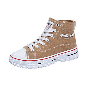 voordelige Damessneakers-Dames Sneakers Creepers Ronde Teen PU Informeel / Studentikoos Herfst Zwart / Khaki