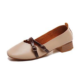 voordelige Damesinstappers & loafers-Dames Loafers & Slip-Ons Blokhak Vierkante Teen PU Herfst Zwart / Amandel / Beige