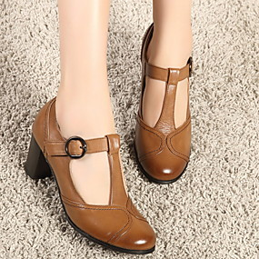 billige Flate sko til damer-Dame Flate sko Tykk hæl Rund Tå PU Sommer Brun / Grå