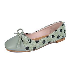 voordelige Damesschoenen met platte hak-Dames Platte schoenen Platte hak Vierkante Teen Strik PU Zoet Herfst Zwart / Groen / Beige