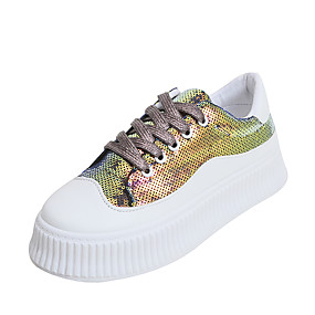 voordelige Damessneakers-Dames Sneakers Creepers Ronde Teen Pailletten Synthetisch Informeel Herfst winter Zwart / Wit / Goud