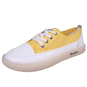 voordelige Damessneakers-Dames Sneakers Platte hak Ronde Teen PU Studentikoos / minimalisme Herfst Zwart / Wit / Geel / Kleurenblok