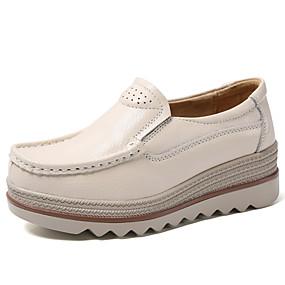 voordelige Damesinstappers & loafers-Dames Loafers & Slip-Ons Sleehak Ronde Teen Leer / Tissage Volant Informeel / minimalisme Herfst winter Zwart / Bordeaux / Rood / Kleurenblok