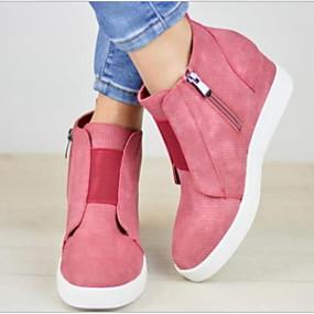voordelige Damessneakers-Dames Sneakers Verborgen hiel Ronde Teen Rubber / PU Kuitlaarzen Lente & Herfst / Winter Zwart / Bruin / Blauw