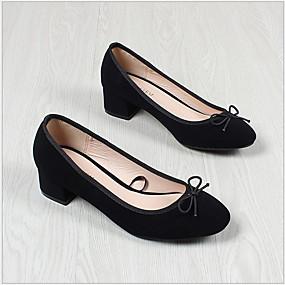 voordelige Damesschoenen met platte hak-Dames Platte schoenen Platte hak Ronde Teen Suède Herfst winter Zwart