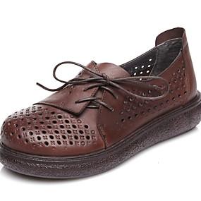voordelige Damesschoenen met platte hak-Dames Platte schoenen Platte hak Ronde Teen PU Herfst winter Zwart / Koffie