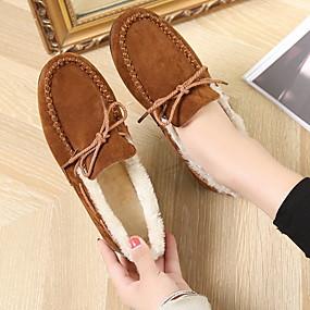 voordelige Damesschoenen met platte hak-Dames Platte schoenen Platte hak Ronde Teen Suède Herfst winter Zwart / Bruin / Rood