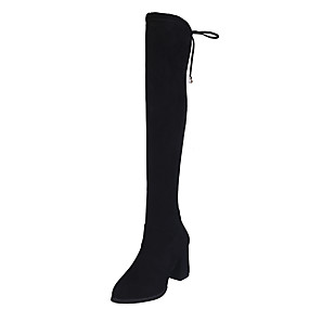 billige Mote Boots-Dame Støvler Tykk hæl Rund Tå Imitasjonsperle Semsket lær / PU Lårhøye støvler Høst vinter Svart