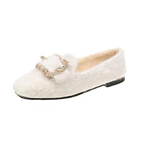 voordelige Damesschoenen met platte hak-Dames Platte schoenen Platte hak Vierkante Teen Imitatiebont Lente & Herfst Zwart / Wit / Khaki