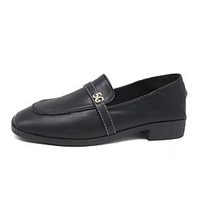 voordelige Damesinstappers & loafers-Dames Loafers & Slip-Ons Blokhak Vierkante Teen PU Informeel Herfst Zwart / Bruin