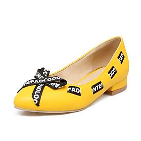 voordelige Damesschoenen met platte hak-Dames Platte schoenen Platte hak Ronde Teen Strik PU Lente & Herfst Wit / Geel / Roze / leuze