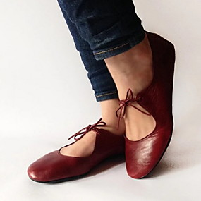 voordelige Damesinstappers & loafers-Dames Loafers & Slip-Ons Platte hak Ronde Teen PU Zomer Zwart / Rood