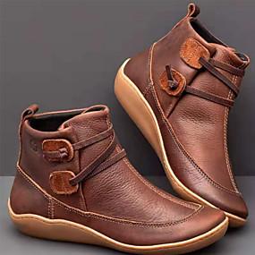 voordelige Damesschoenen met platte hak-Dames Platte schoenen Platte hak Ronde Teen PU Korte laarsjes / Enkellaarsjes Herfst winter Zwart / Lichtblauw / Geel